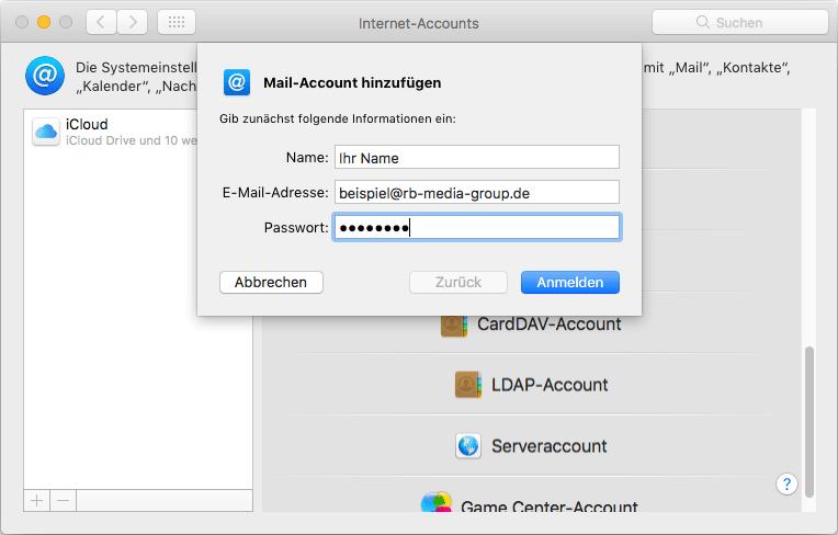 IMAP Einrichtung Apple Mail Step 3