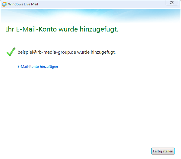IMAP Einrichtung Microsoft Live Mail 2012 Step 3