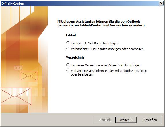 Microsoft Outlook 2003 POP3 Einrichtung Step 1