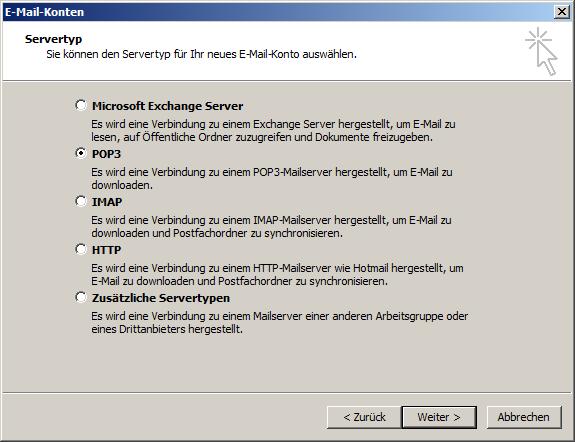 Microsoft Outlook 2003 POP3 Einrichtung Step 2