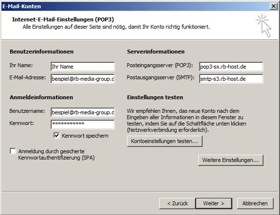 Microsoft Outlook 2003 POP3 Einrichtung Step 3