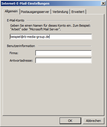 Microsoft Outlook 2003 POP3 Einrichtung Step 4
