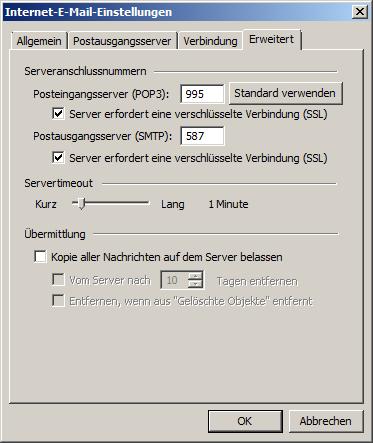 Microsoft Outlook 2003 POP3 Einrichtung Step 6