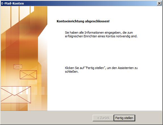 Microsoft Outlook 2003 POP3 Einrichtung Step 7