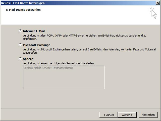 Microsoft Outlook 2007 POP3 Einrichtung Step 3