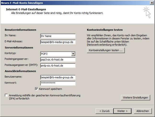 Microsoft Outlook 2007 POP3 Einrichtung Step 4
