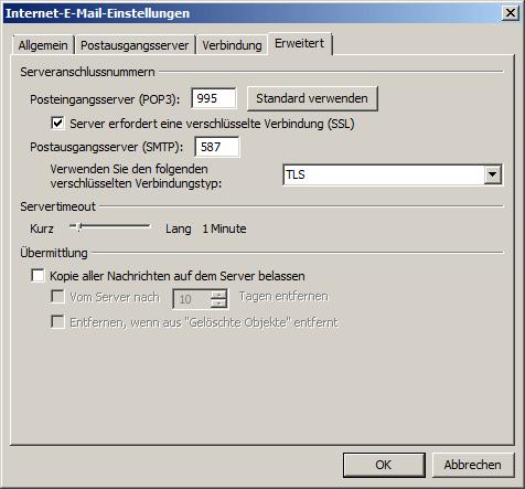 Microsoft Outlook 2007 POP3 Einrichtung Step 7