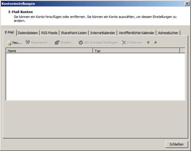 Microsoft Outlook 2010 IMAP Einrichtung Step 1