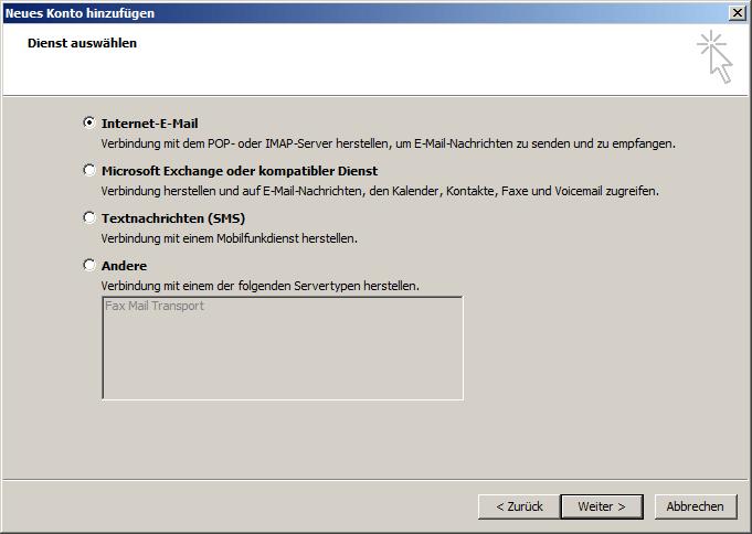 Microsoft Outlook 2010 IMAP Einrichtung Step 3