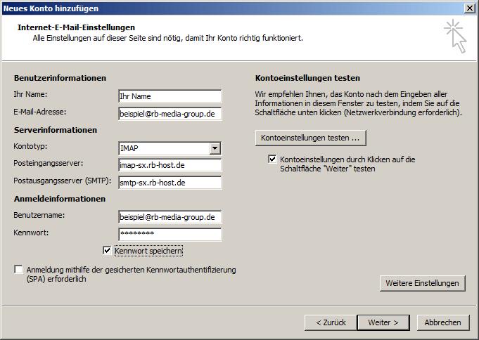 Microsoft Outlook 2010 IMAP Einrichtung Step 4