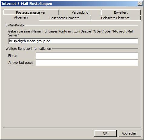 Microsoft Outlook 2010 IMAP Einrichtung Step 5