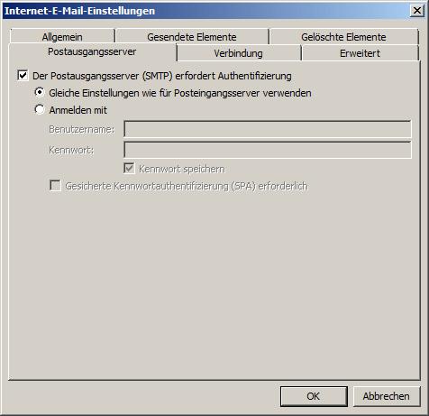 Microsoft Outlook 2010 IMAP Einrichtung Step 6