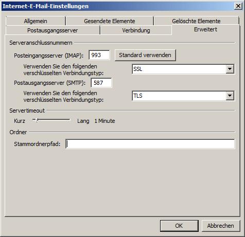 Microsoft Outlook 2010 IMAP Einrichtung Step 7