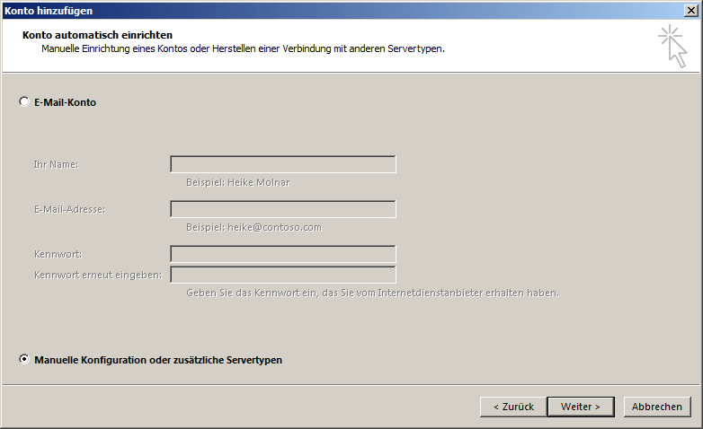 Microsoft Outlook 2013 IMAP Einrichtung Step 1