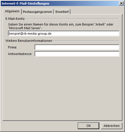 Microsoft Outlook 2013 IMAP Einrichtung Step 4