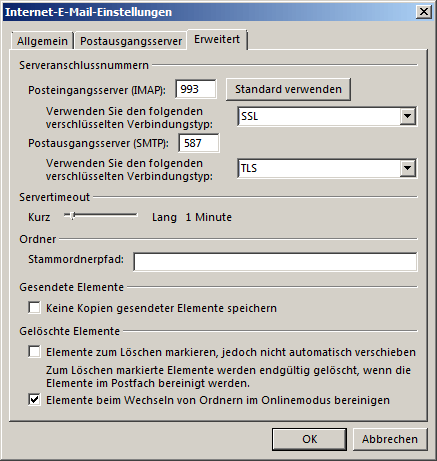 Microsoft Outlook 2013 IMAP Einrichtung Step 6