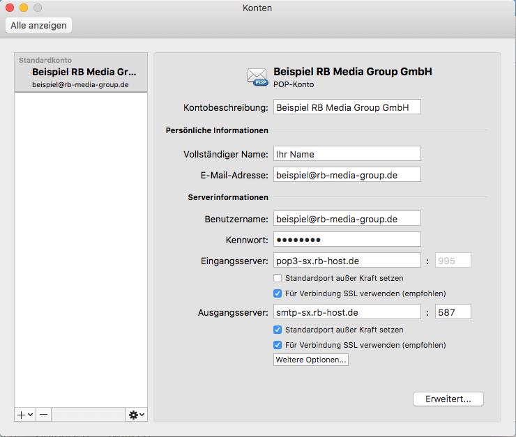 POP3 Einrichtung Microsoft Outlook 2016 Mac Step 3