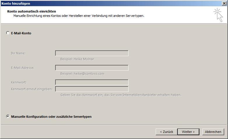 Microsoft Outlook 2016 IMAP Einrichtung Step 1
