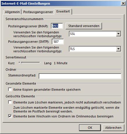 Microsoft Outlook 2016 IMAP Einrichtung Step 6