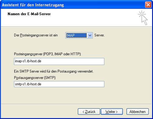 Einrichtung Outlook Express 6 Step 3 IMAP