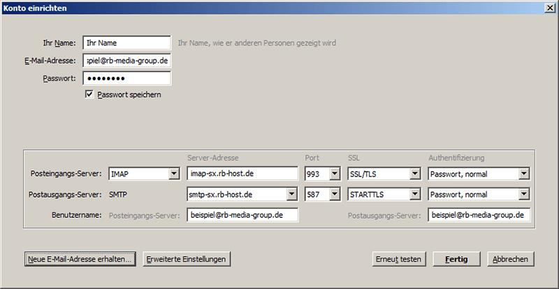 IMAP Einrichtung Mozilla Thunderbird Step 2